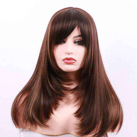 Long Side Bang Colormix Layered Straight Synthetic Party Wig - DARK COFFEE