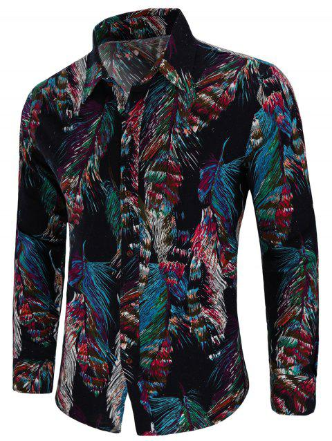 Casual Tribal Print Long Sleeve Shirt - BLACK 2XL