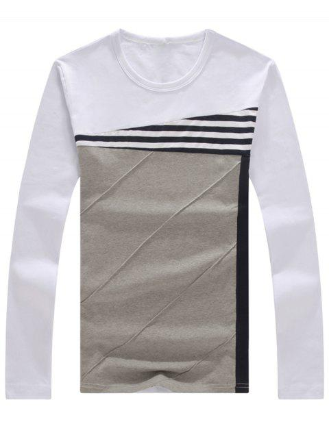 Stripe Crew Neck Long Sleeve T-shirt - WHITE 3XL