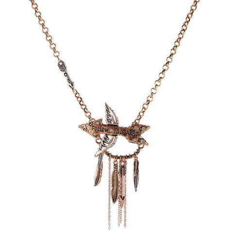 Cupid's Arrow Embellished Leaves Tassel Pendant Necklace - GOLDEN