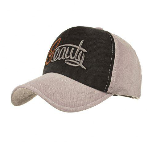 Chapeau Protection Solaire Motif Inscription BEAUTY Brodée Style Simple - Gris