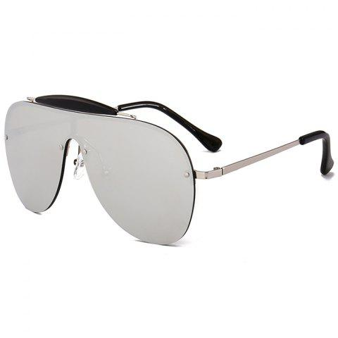 Anti UV Crossbar Decorated One Piece Sunglasses - NICKEL FRAME/MERCURY LENS