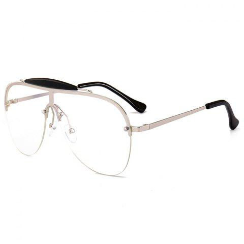 Anti UV Crossbar Decorated One Piece Sunglasses - CLEAR WHITE