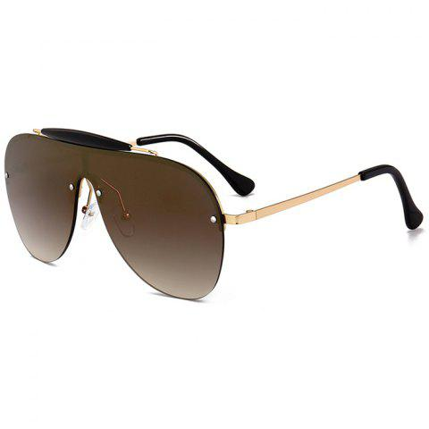 Anti UV Crossbar Decorated One Piece Sunglasses - DEEP BROWN