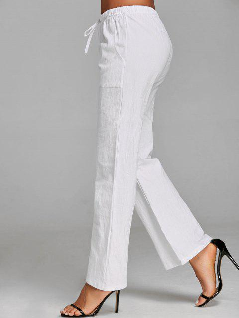 Straight Drawstring Pants - WHITE S