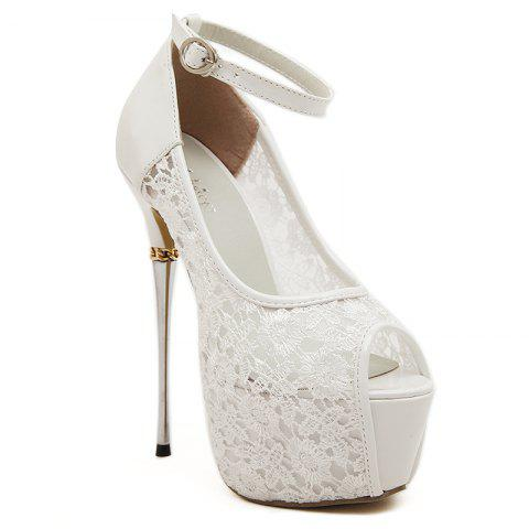 Lace Stiletto Heel Peep Toe Sandals - WHITE 37