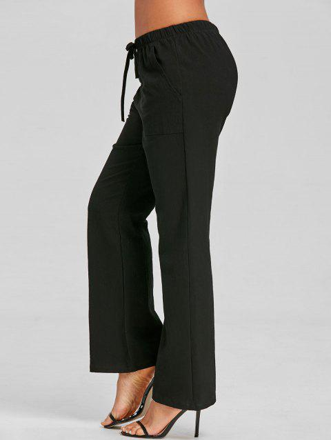 Straight Drawstring Pants - BLACK L