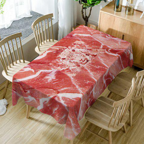 Raw Meat Print Waterproof Table Cloth - RED W60 INCH * L84 INCH