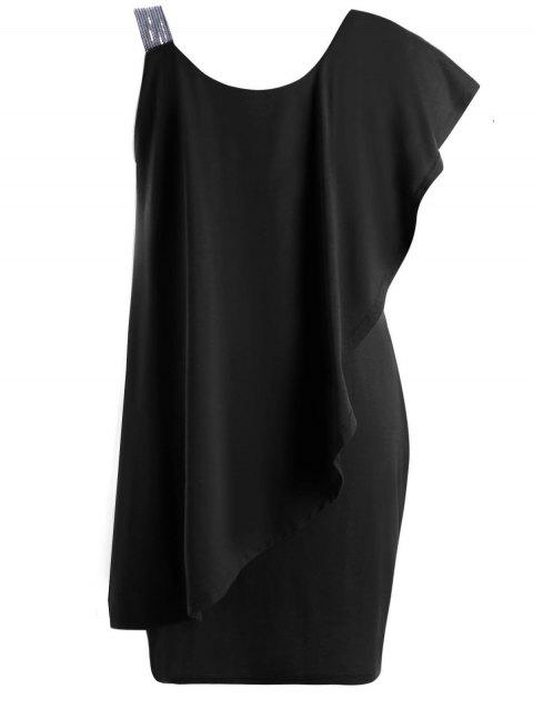 Plus Size Flounce One Shoulder Mini Dress