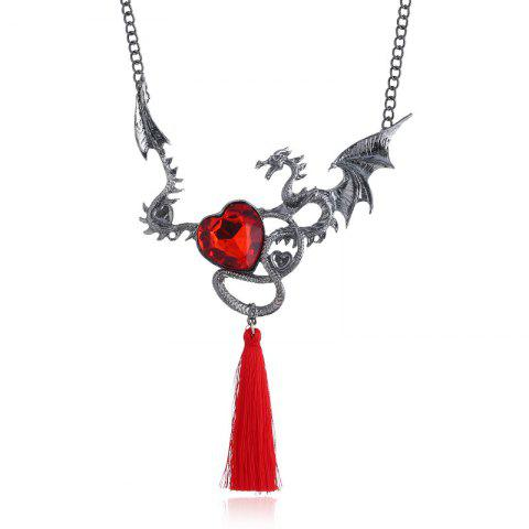 Collier Charmant Motif Dragon et Pompon Orné de Crystal Fantaisie - NOIR/ROUGE