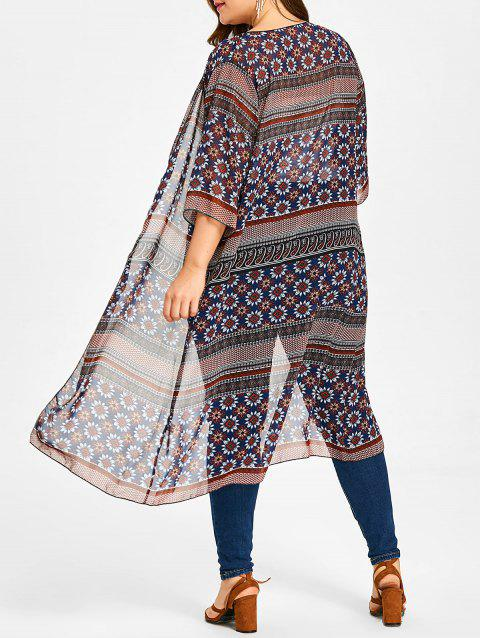 Longline Ethnic Sunflower Print Plus Size Kimono - PURPLISH BLUE ONE SIZE