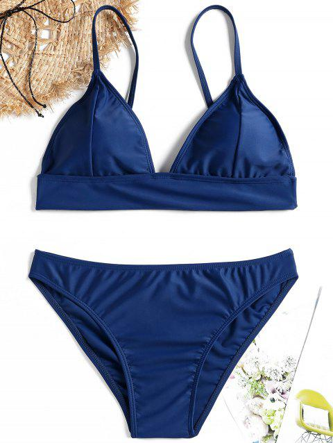 Low Waist Cami Strap Bikini Set - DEEP BLUE L