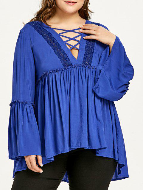 Plus Size Bell Sleeve Plunging Neck Smock Blouse