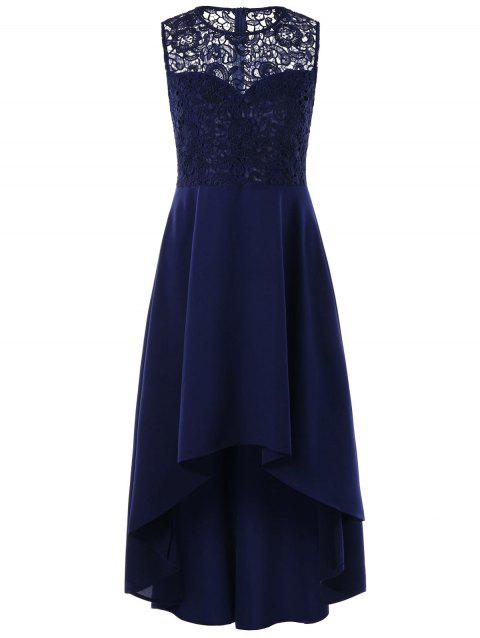 Sleeveless Lace Panel High Low Dress - BLUE L