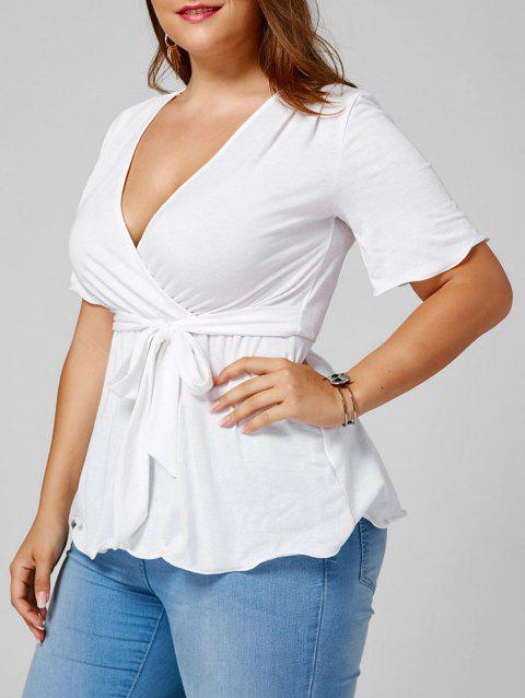 Plus Size Belted Empire Waisted Surplice Blouse - WHITE XL