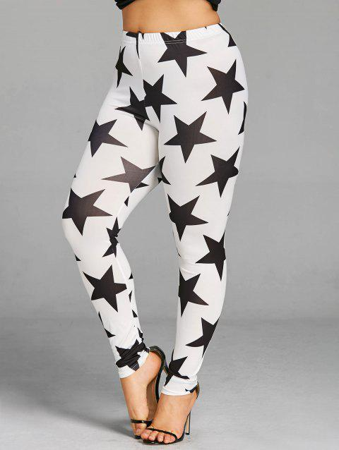 Plus Size Star Graphic Leggings - WHITE/BLACK 3XL
