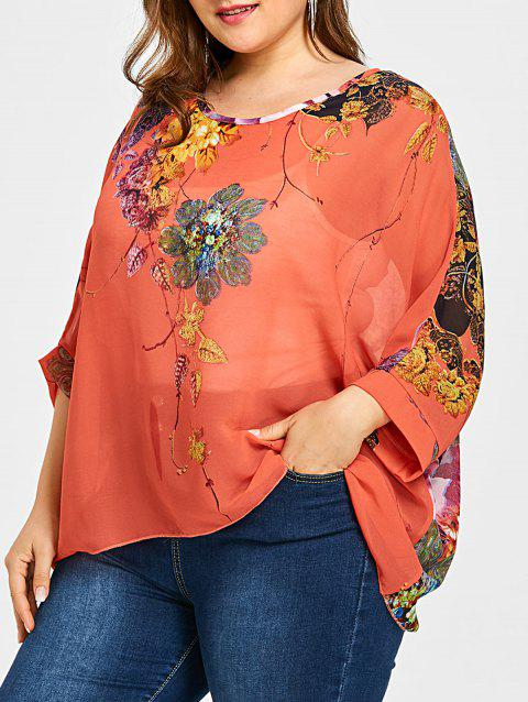 7cfa4b0f85ce3 LIMITED OFFER  2019 Semi Sheer Floral Plus Size Chiffon Blouse In ...
