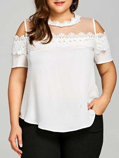 Plus Size Lace Trim Cold Shoulder Blouse - WHITE 4XL