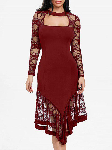 Lace Panel Cut Out Asymmetrical Club Dress - WINE RED 2XL