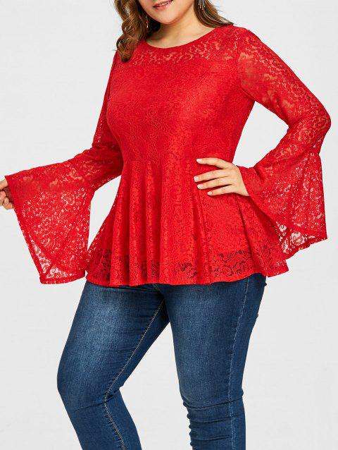 Plus Size Lace Peplum Blouse - RED 5XL