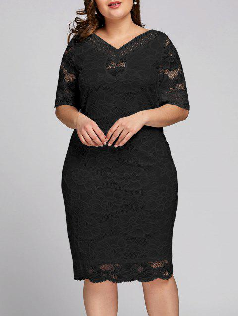 Plus Size Half Sleeve V Neck Lace Dress - BLACK 4XL