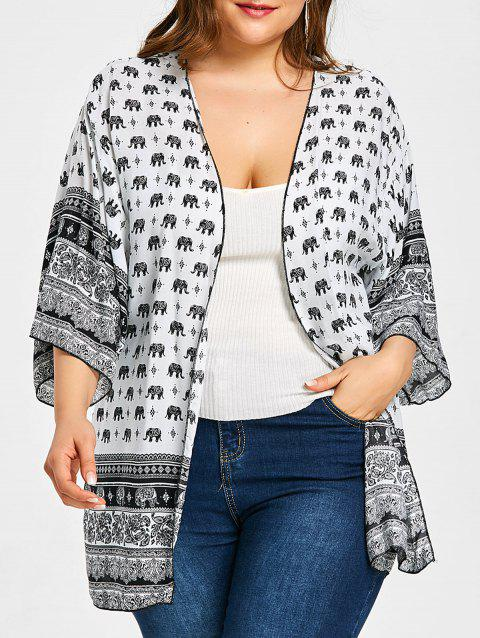 Elephant Print Open Front Plus Size Blouse - WHITE ONE SIZE