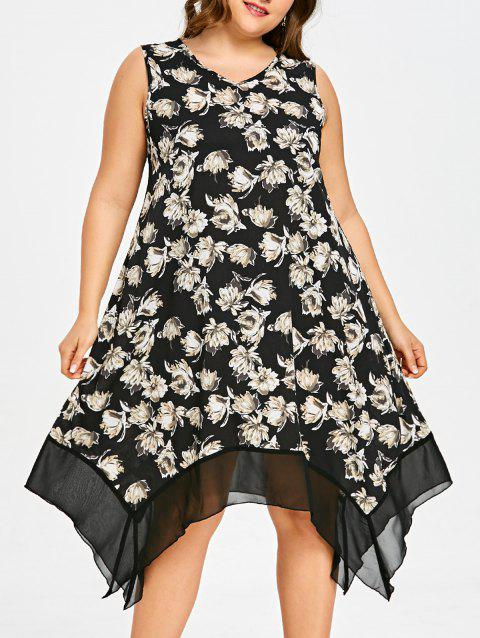 Asymmetric Plus Size Floral Tank Dress - BLACK 2XL