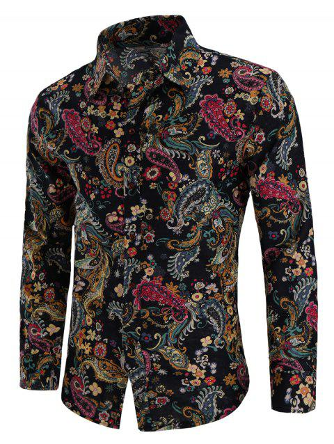 Turn Down Collar Linen Paisley Print Shirt - multicolor 4XL