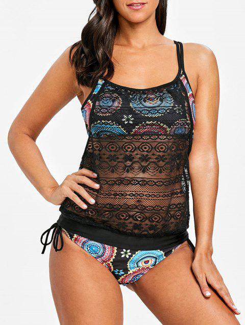 Round Printed Lace Overlay Tankini - COLORMIX XL