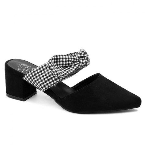 Pointed Toe Backless Bow Sandals - BLACK 39