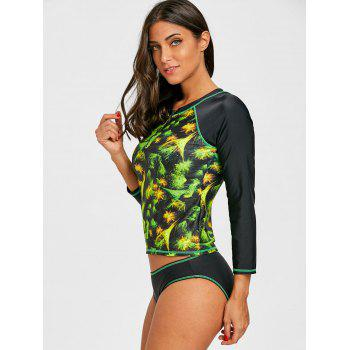 Two Piece Print Surf Swimsuit with Sleeves - COLORMIX S