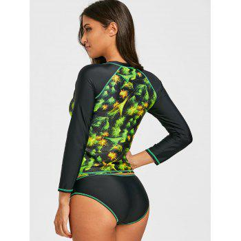 Two Piece Print Surf Swimsuit with Sleeves - COLORMIX L