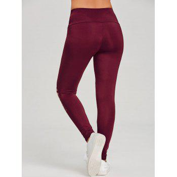 Skinny Distressed Sports Leggings - WINE RED XL