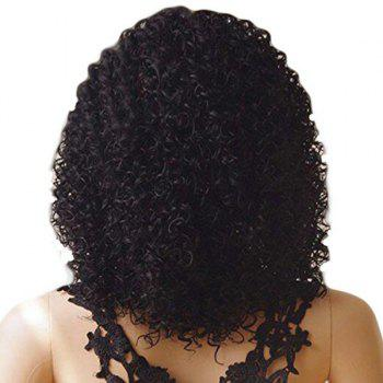 Medium Side Bang Fluffy Kinky Curly Synthetic Lace Front Wig - NATURAL BLACK 16INCH