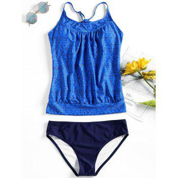 Geometric Printed Cross Back Tankini - BLUE M