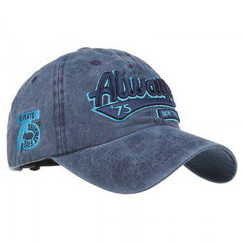 ALWAYS Patern Embroidery Washed Fine Baseball Cap - CADETBLUE
