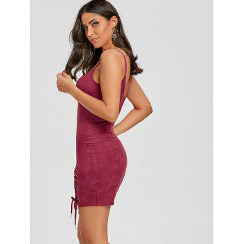 Spaghetti Strap Faux Suede Lace Up Dress - WINE RED L