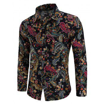 Turn Down Collar Linen Paisley Print Shirt