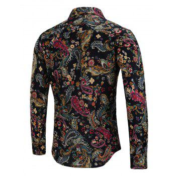 Turn Down Collar Linen Paisley Print Shirt - COLORMIX XL