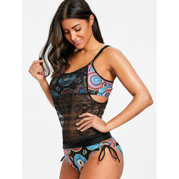Round Printed Lace Overlay Tankini - COLORMIX L