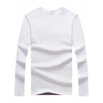 Stripe Crew Neck Long Sleeve T-shirt - WHITE 4XL