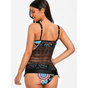 Round Printed Lace Overlay Tankini - COLORMIX 2XL