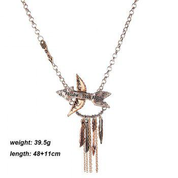 Cupid's Arrow Embellished Leaves Tassel Pendant Necklace - SILVER