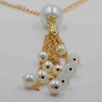 Faux Pearl Decorated Fringed Sweater Chain - GOLDEN
