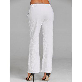 Straight Drawstring Pants - WHITE XL