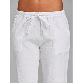 Straight Drawstring Pants - WHITE L