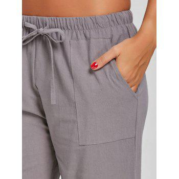 Straight Drawstring Pants - GRAY M