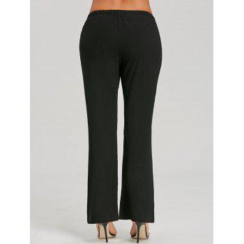 Straight Drawstring Pants - BLACK S