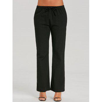 Straight Drawstring Pants - BLACK XL