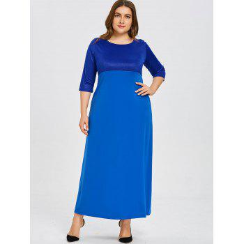 Plus Size Empire Waist Dress - BLUE 3XL